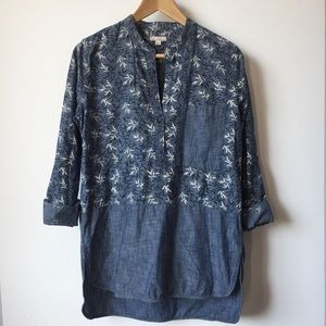 GAP Denim Chambray Floral Print Tunic